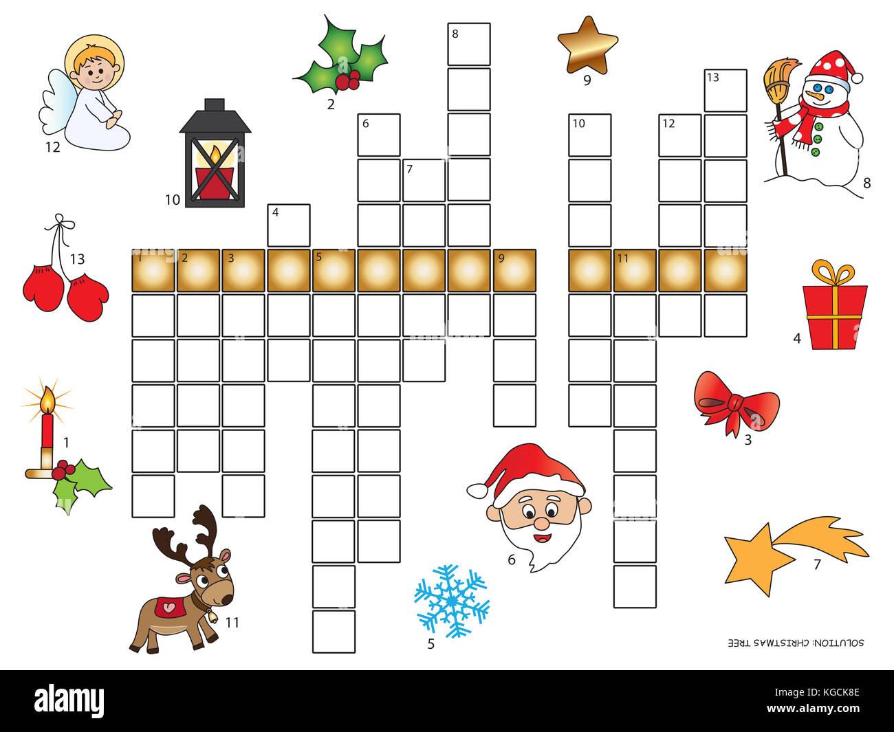 Juego Para Ninos Crucigramas Navidad Foto Imagen De Stock