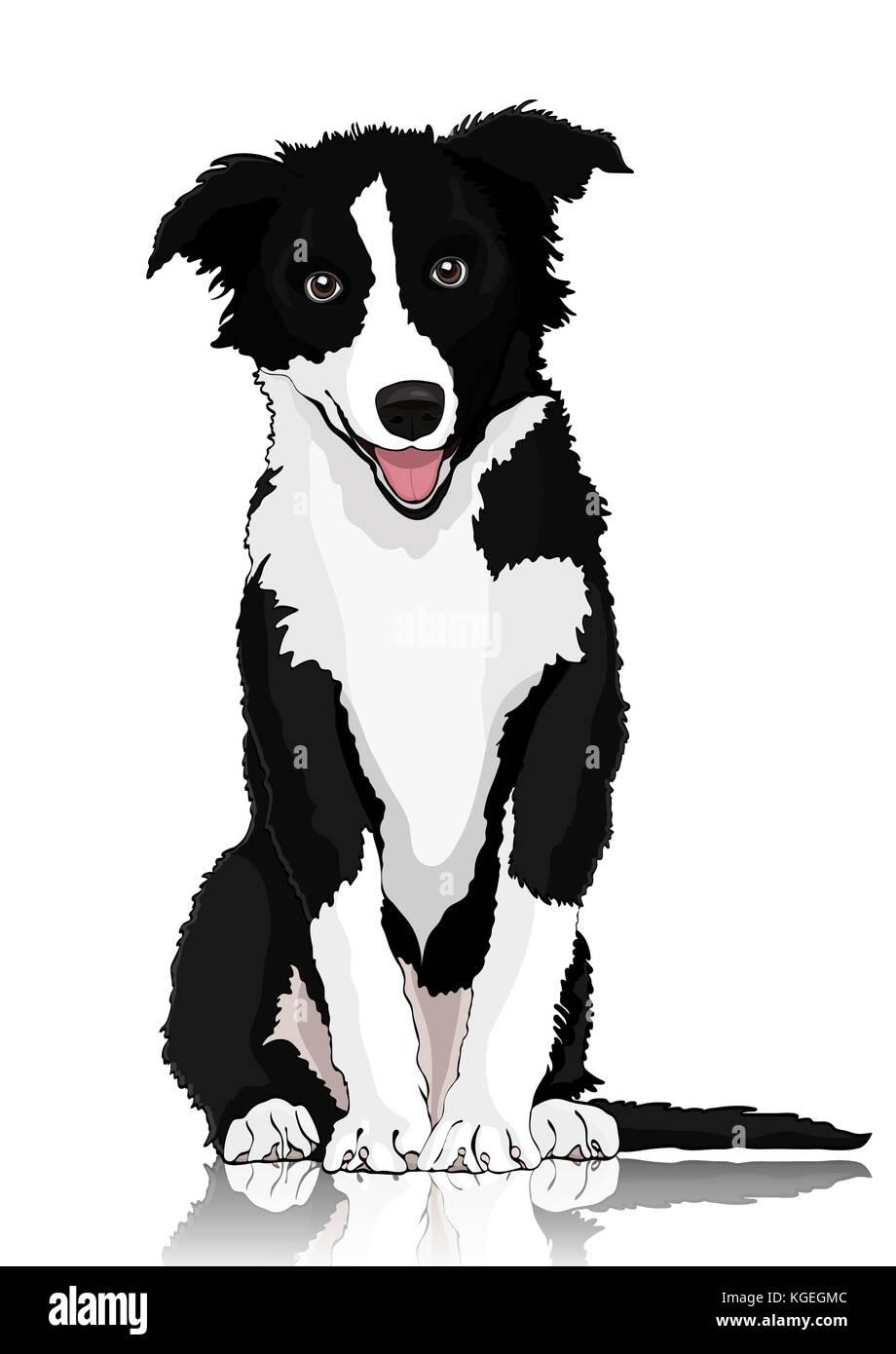 Perro Dibujo Vectorial Blanco Y Negro Cartoon Shaggy Dog De