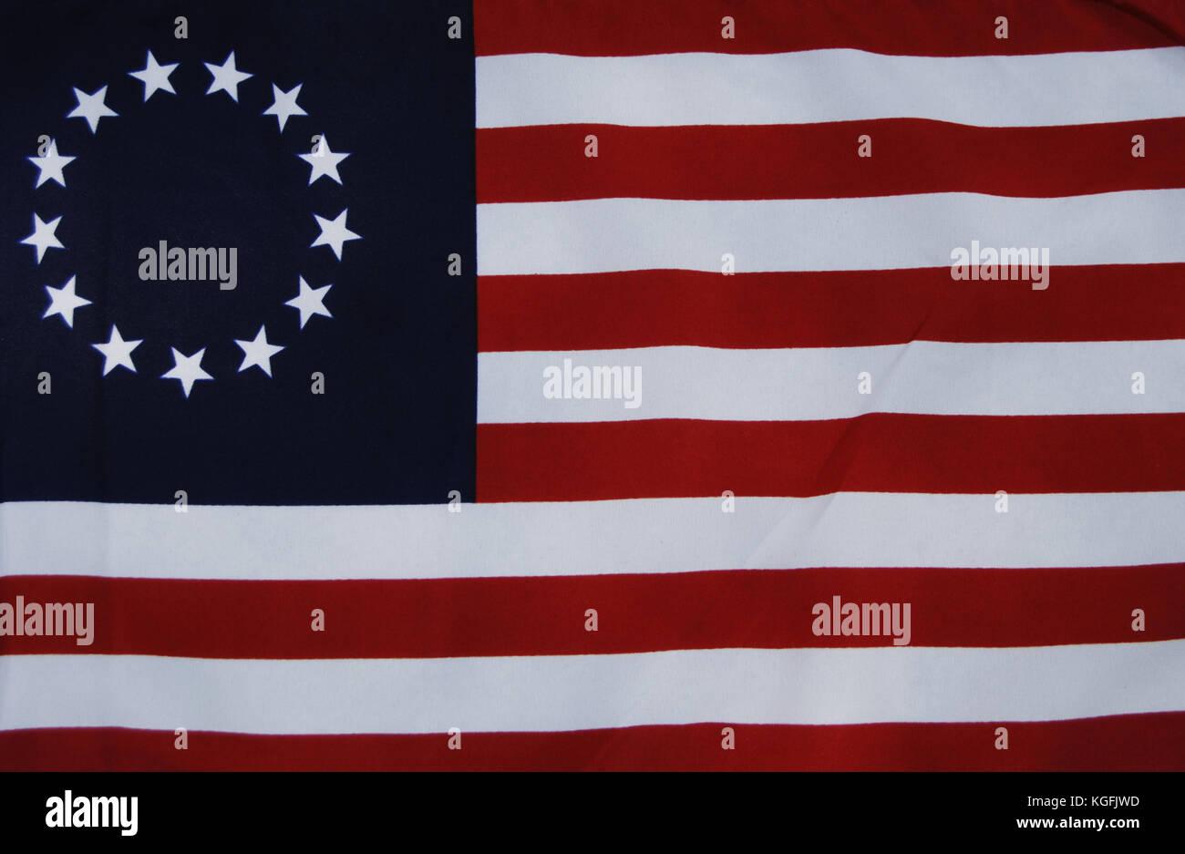 Bandera de Betsy Ross. principios de diseño de la bandera de los Estados Unidos. las 13 estrellas representan Imagen De Stock