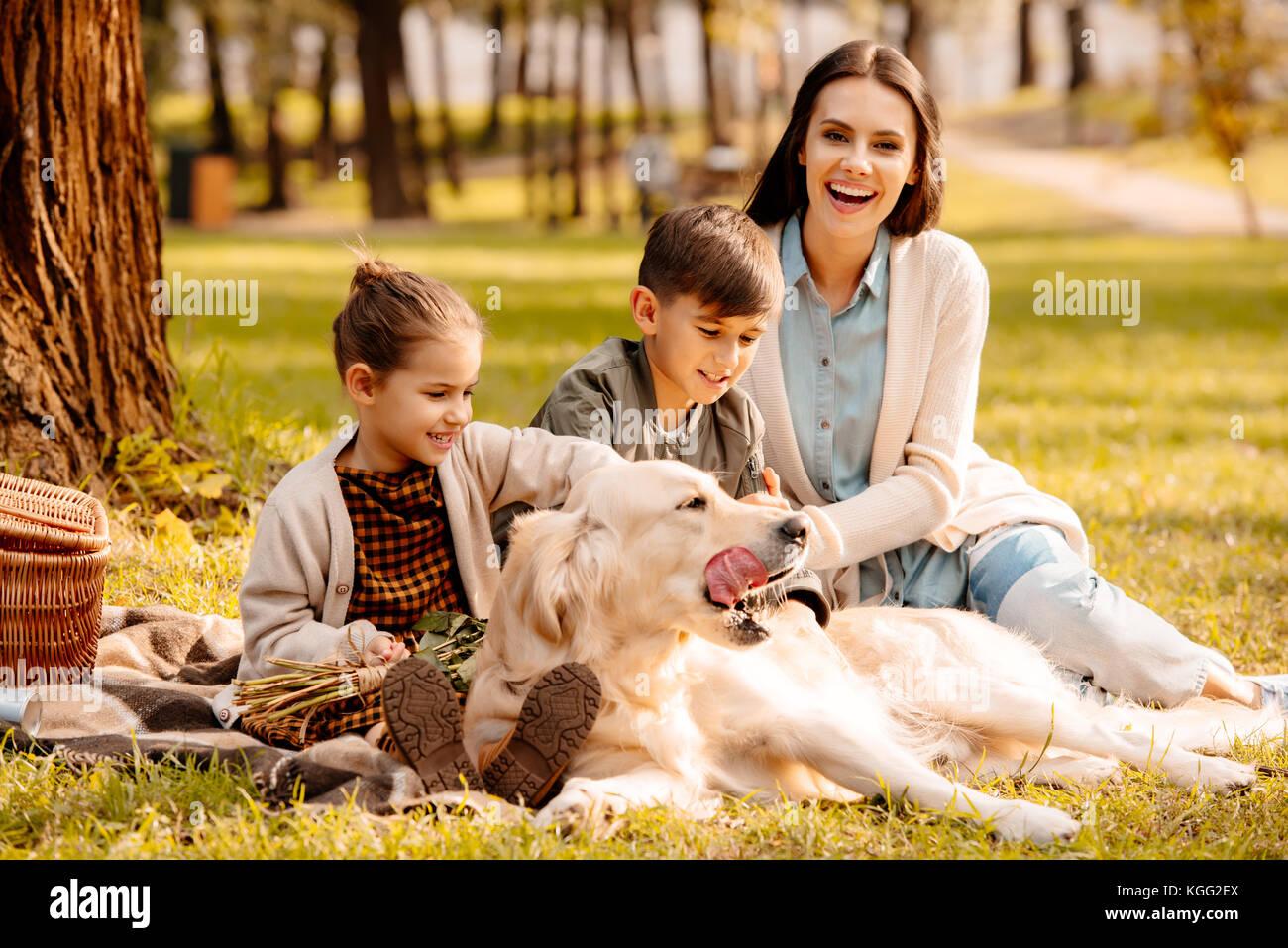 Los niños y la madre de acariciar a perros en el parque Imagen De Stock
