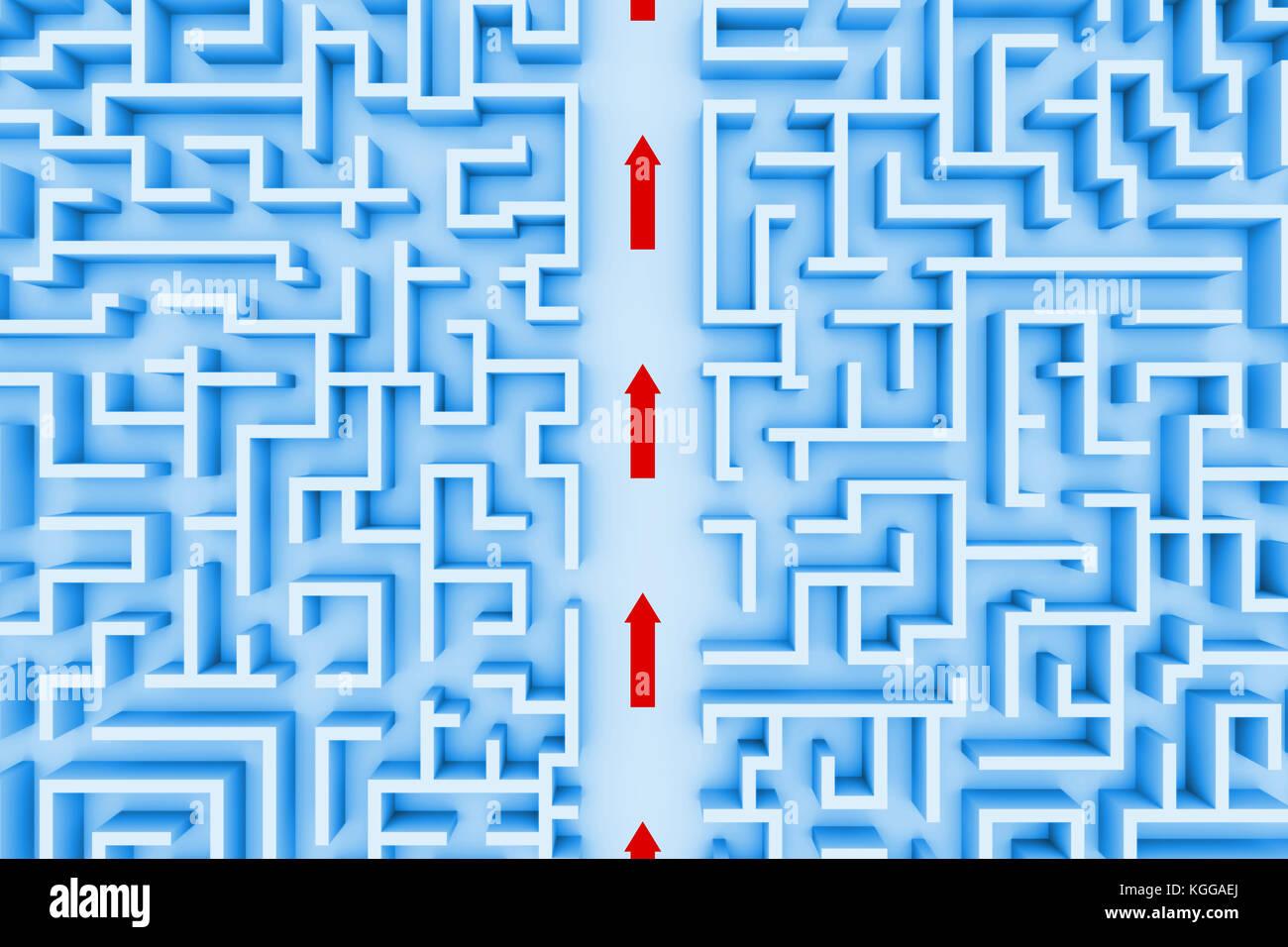 Estructura enorme laberinto, flechas rojas mostrando atajo a través del laberinto (blue 3d ilustración) Imagen De Stock