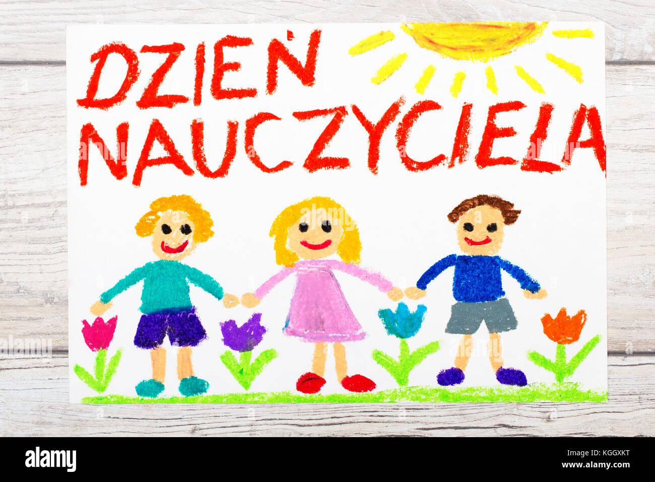 Foto De Colorido Dibujo Palabras De Polaco Día Del Maestro Y Los