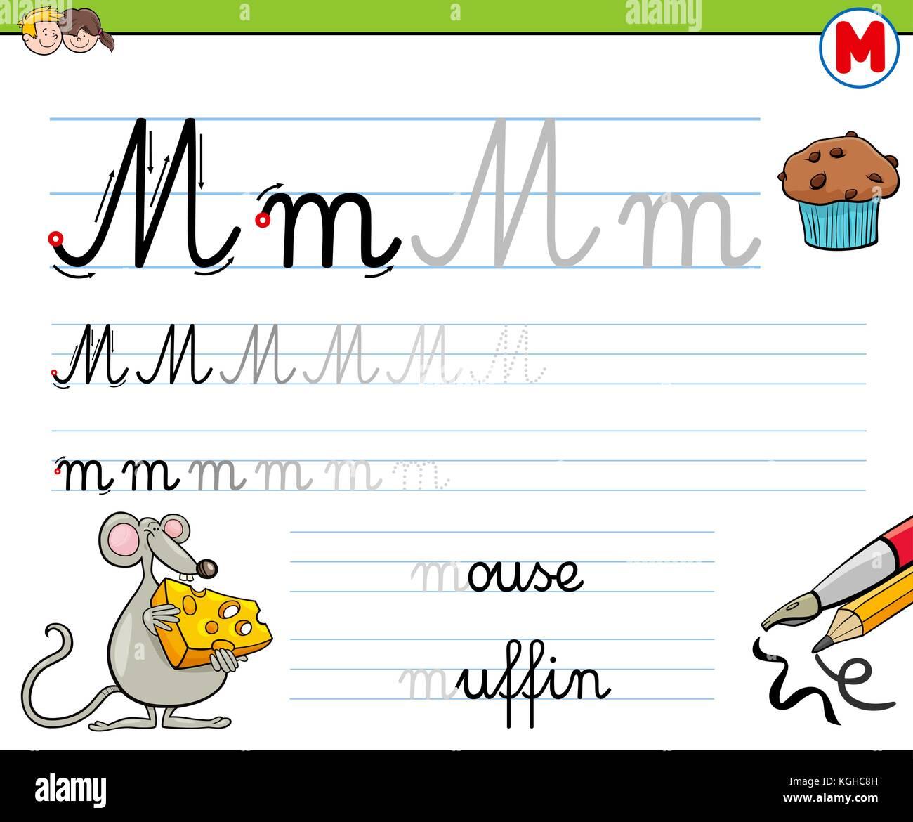 Cartoon ilustración práctica de las habilidades de la escritura con ...