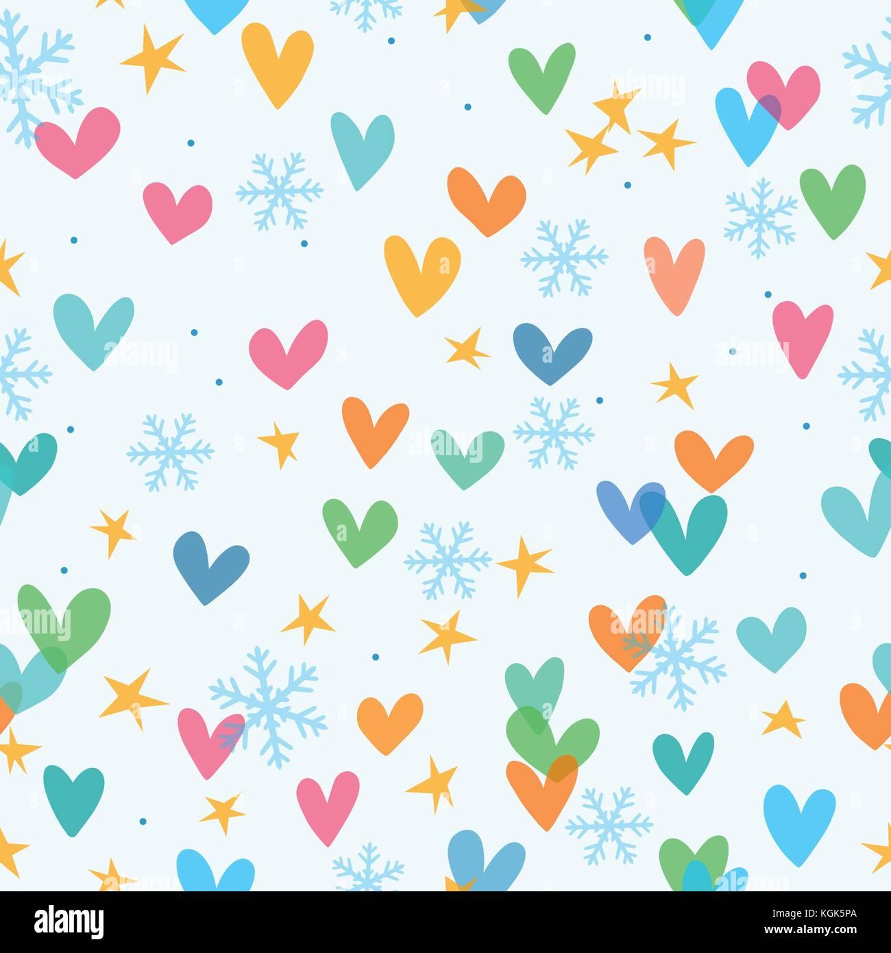 Patrón De Navidad Perfecta Con Estrellas Corazones Y Copos De Nieve