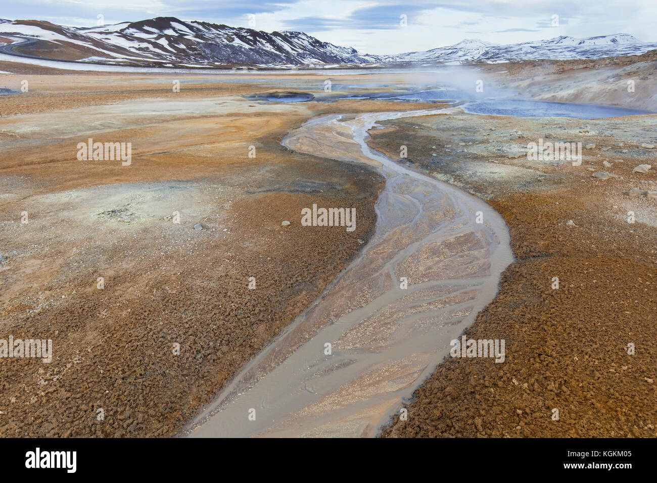 Hverir, área geotérmica cerca de Námafjall, Norðurland eystra / Nordurland eystra, Islandia Foto de stock