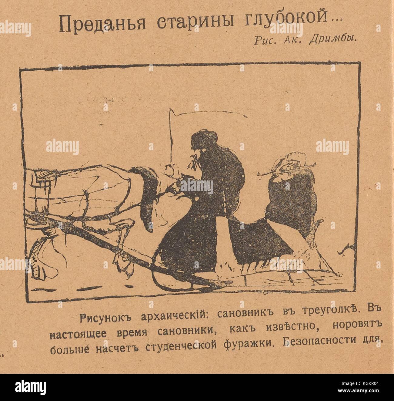 7118ba279eab Caricatura de un dignatario en un trineo de caballos conducido por un  conductor de trineos,