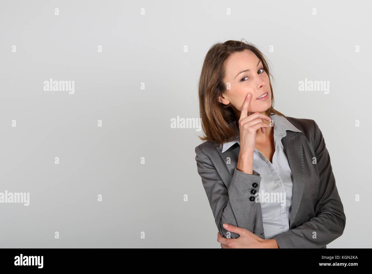 La empresaria con aspecto dudoso Imagen De Stock