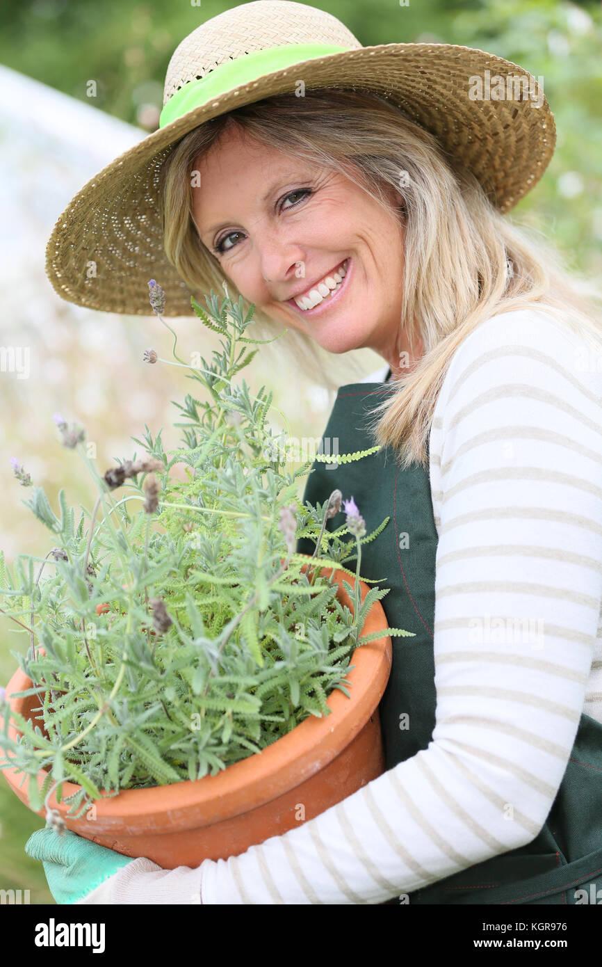 Retrato de mujer hermosa gradening plantas aromáticas Foto de stock