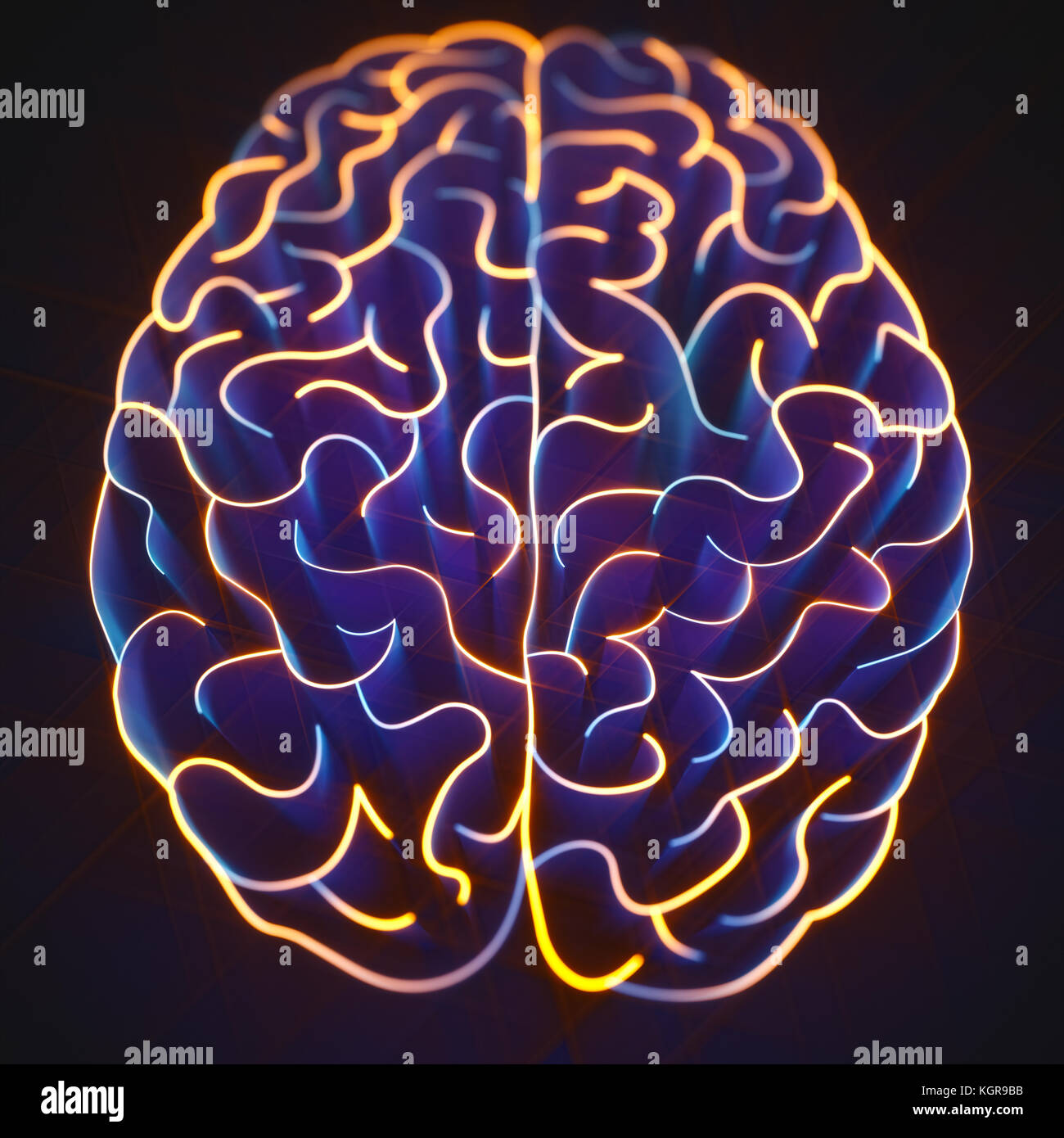 Paredes con forma de cerebro en un laberinto sin salida. Imagen De Stock