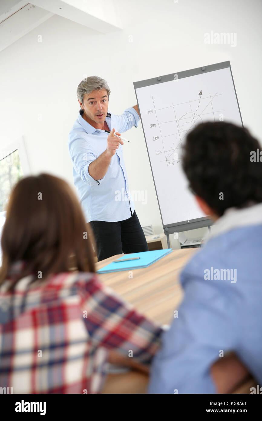Profesor en clase business haciendo Presentación de marketing. Foto de stock