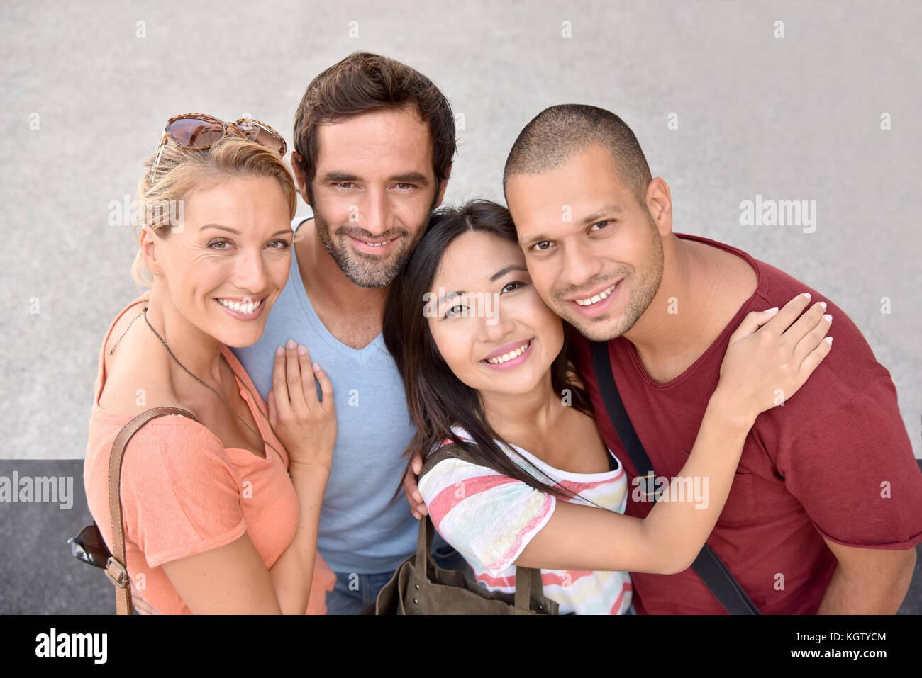 Retrato de cuatro jóvenes adultos, etnia Imagen De Stock
