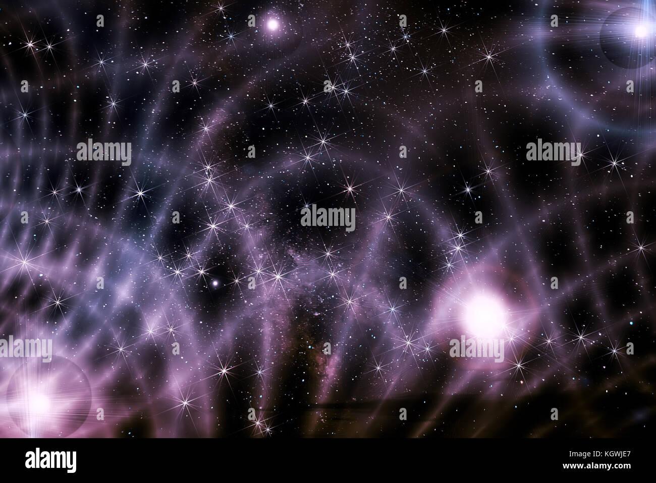 Color de fondo abstracto del espacio profundo con estrellas, nebulosas y polvo de estrellas en negro y colores lila Imagen De Stock