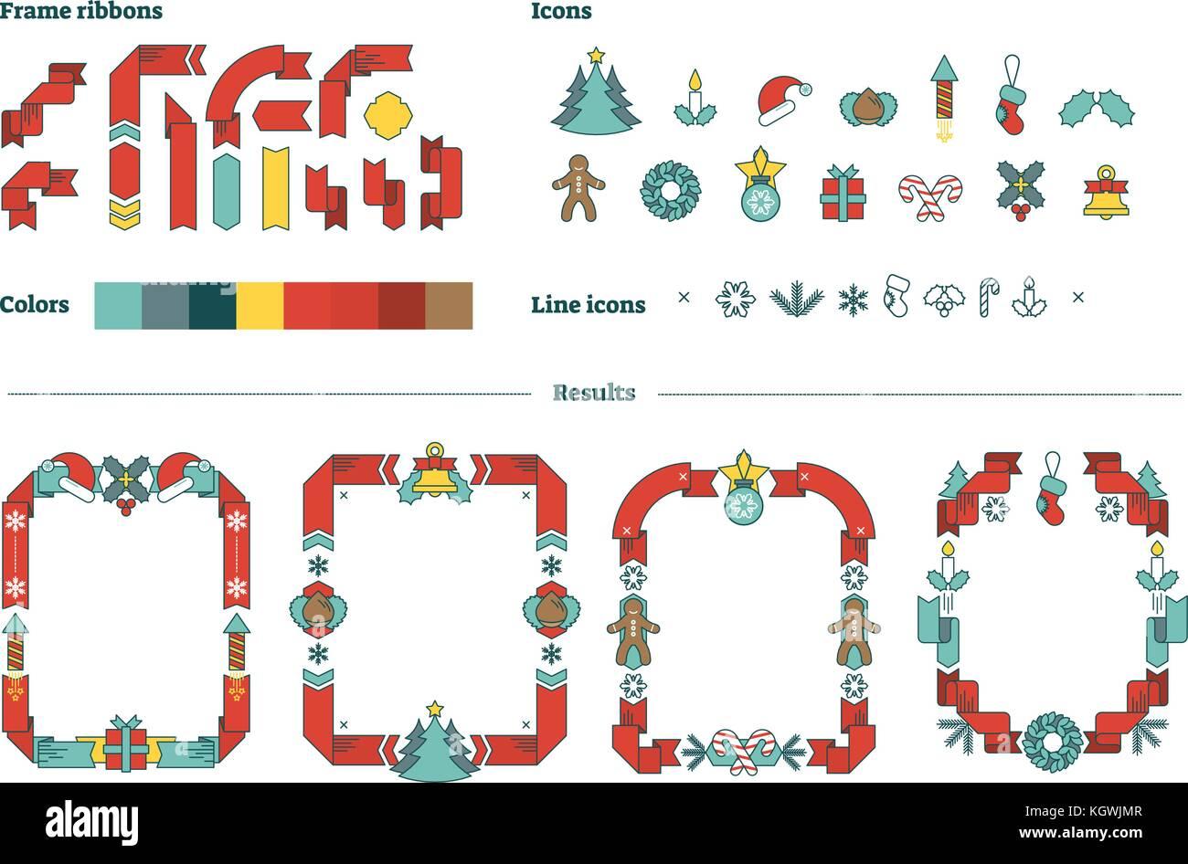 Constructor de tramas vectoriales de navidad ilustrado conjunto de ...