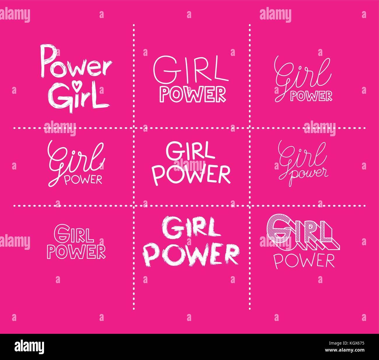 Girl Power pegatinas en fondo magenta Imagen De Stock