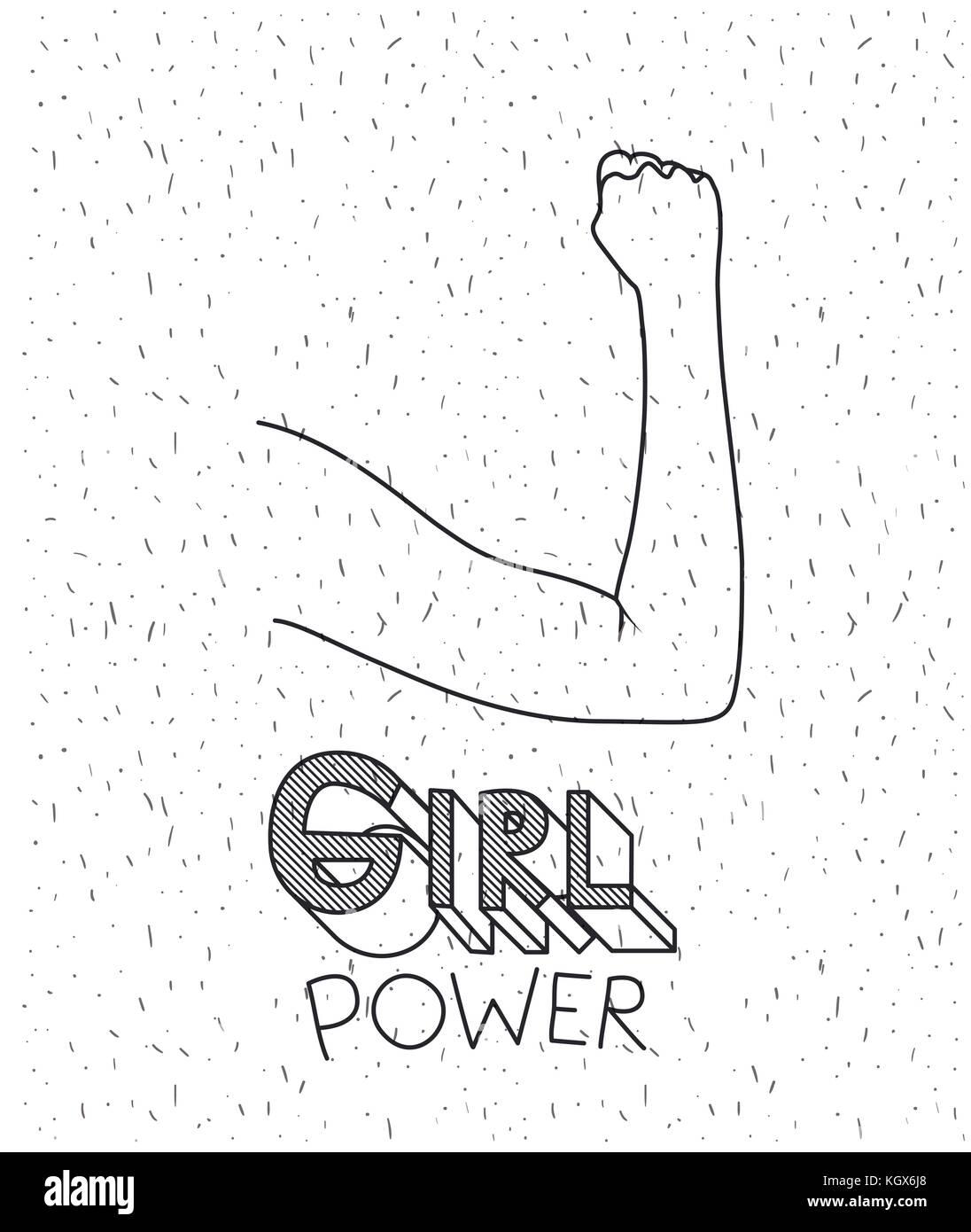 Girl Power texto con brazo femenino silueta sobre fondo blanco con destellos Imagen De Stock