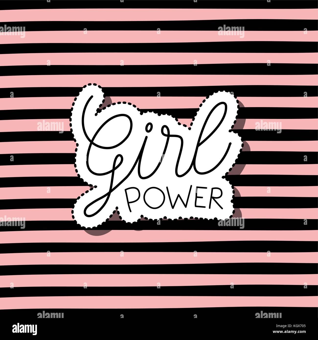 Girl Power texto de etiqueta en fondo rayado Imagen De Stock