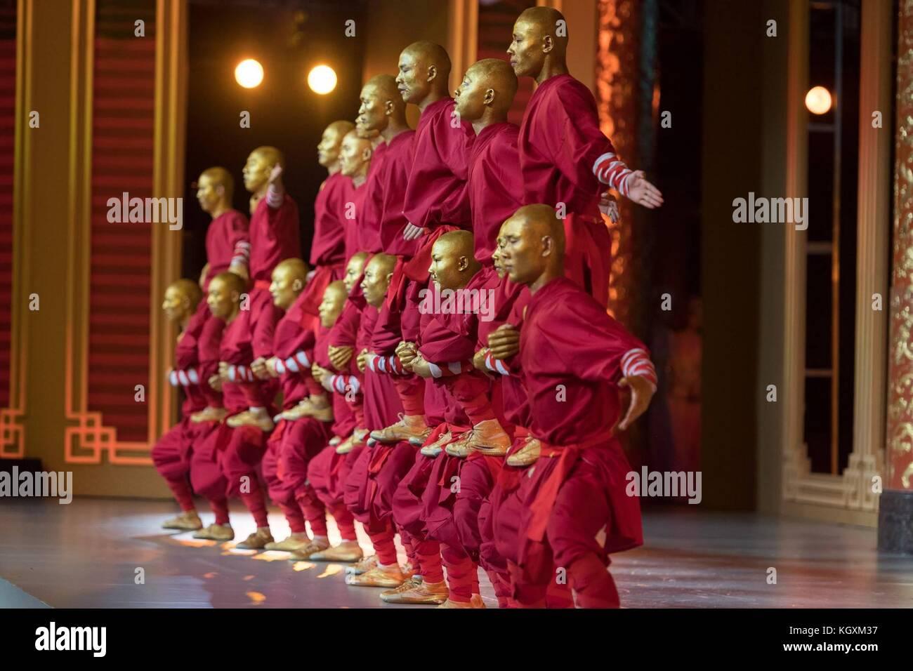 Artes marciales chinas expertos durante la demostración parte de la cena de estado de EE.UU. presidente Donald Imagen De Stock