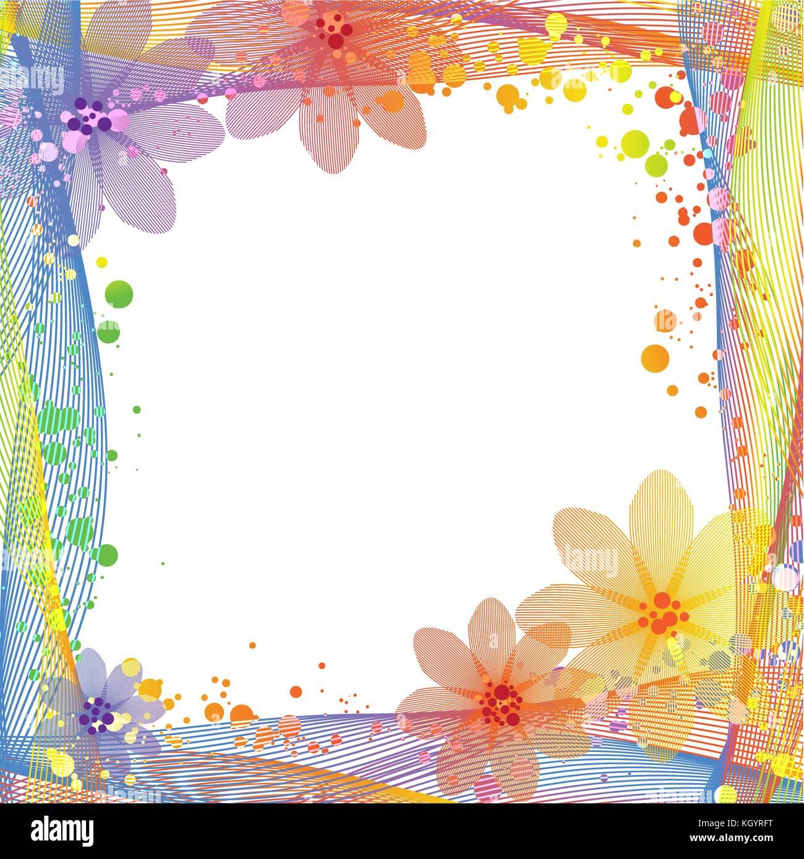 Resumen colorido marco con línea zigzagueante, floral y fondo de ...