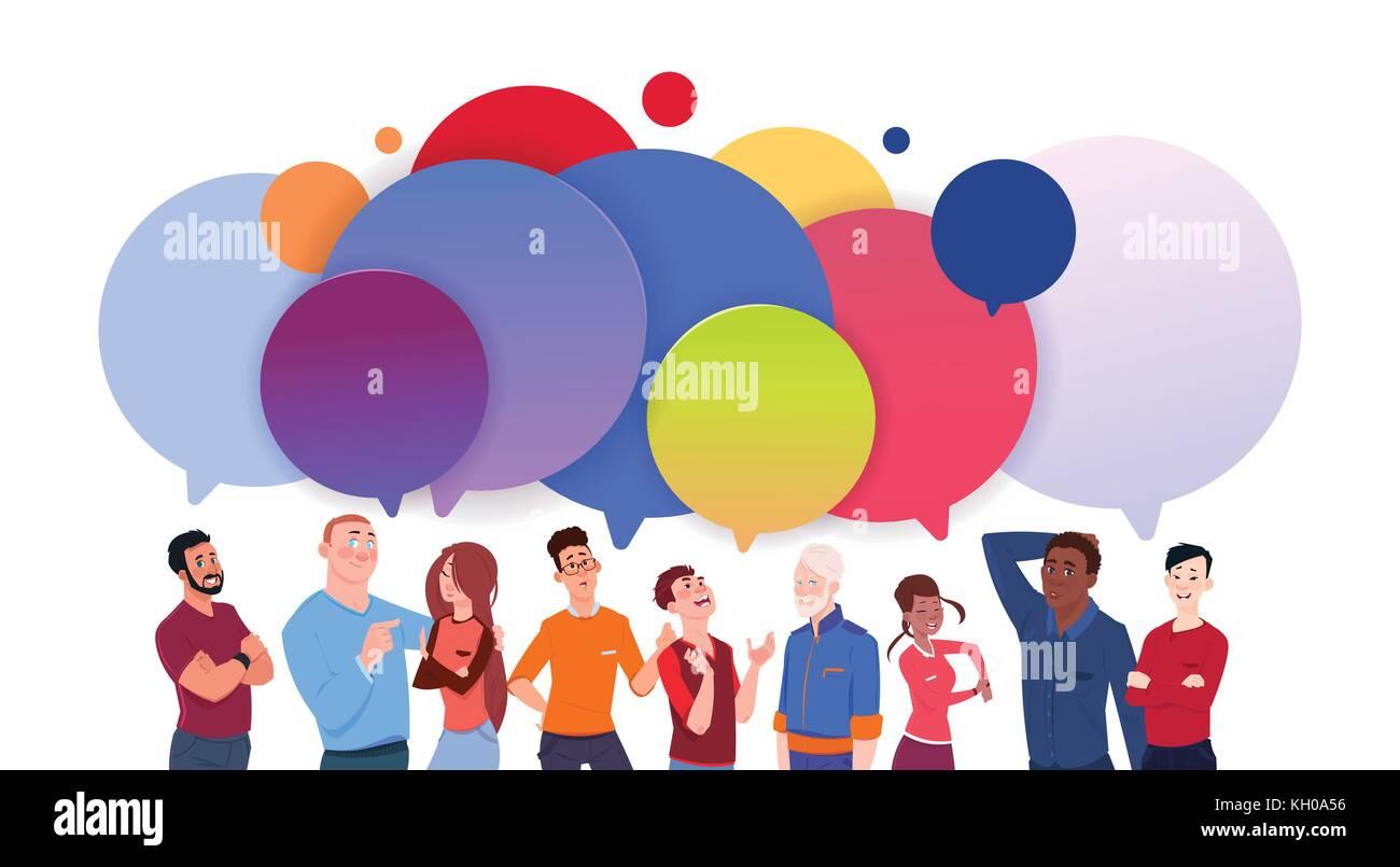 Grupo De Diversas Personas Con Coloridos Dibujos Animados