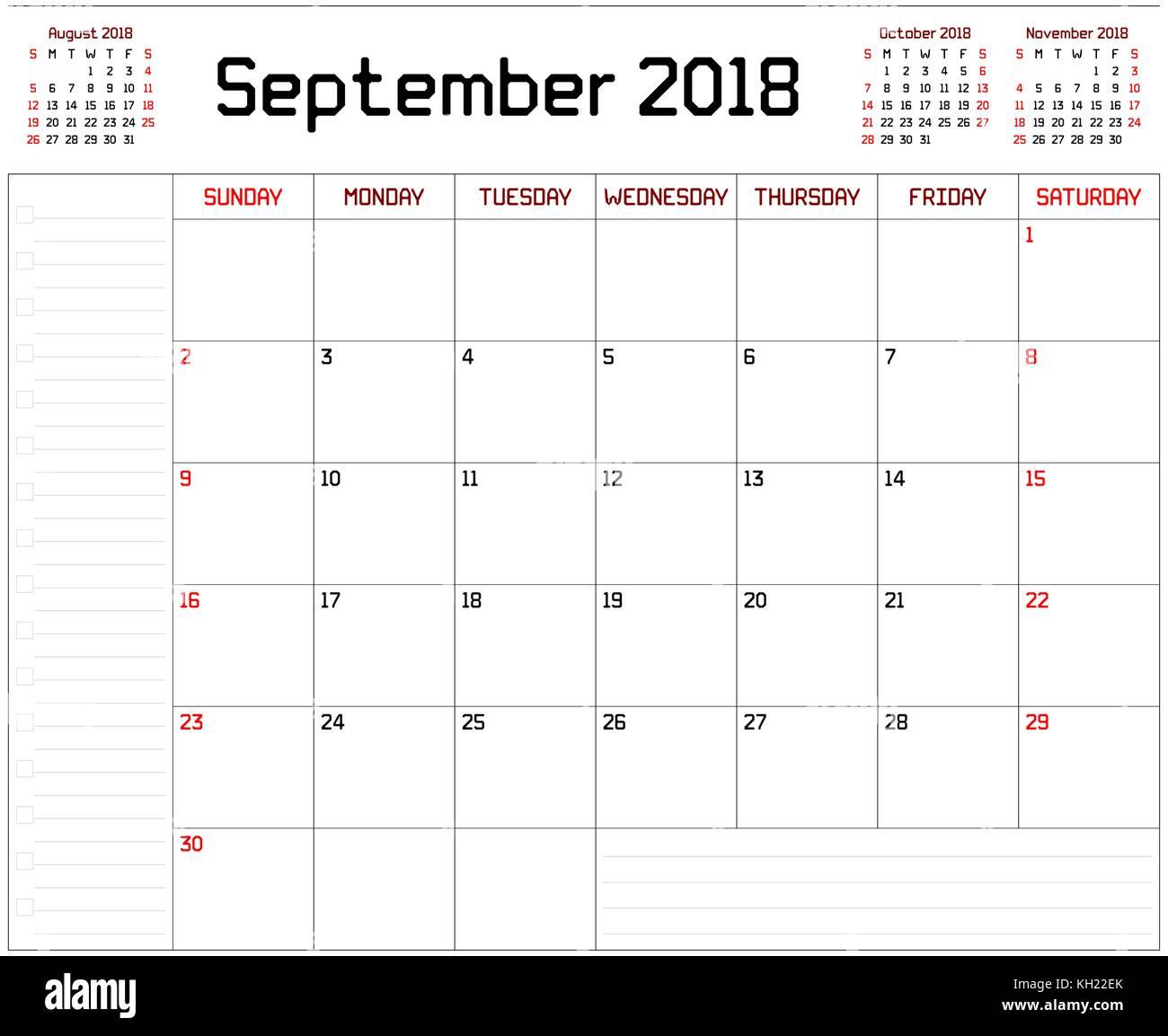 b0e3bcc1676ea Año 2018 Septiembre planner - Planificador mensual calendario de septiembre  de 2018 sobre un fondo blanco