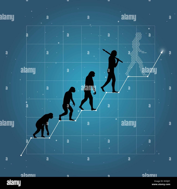 Crecimiento del negocio o de la economía como en el gráfico de la evolución humana. fondo azul. Imagen De Stock