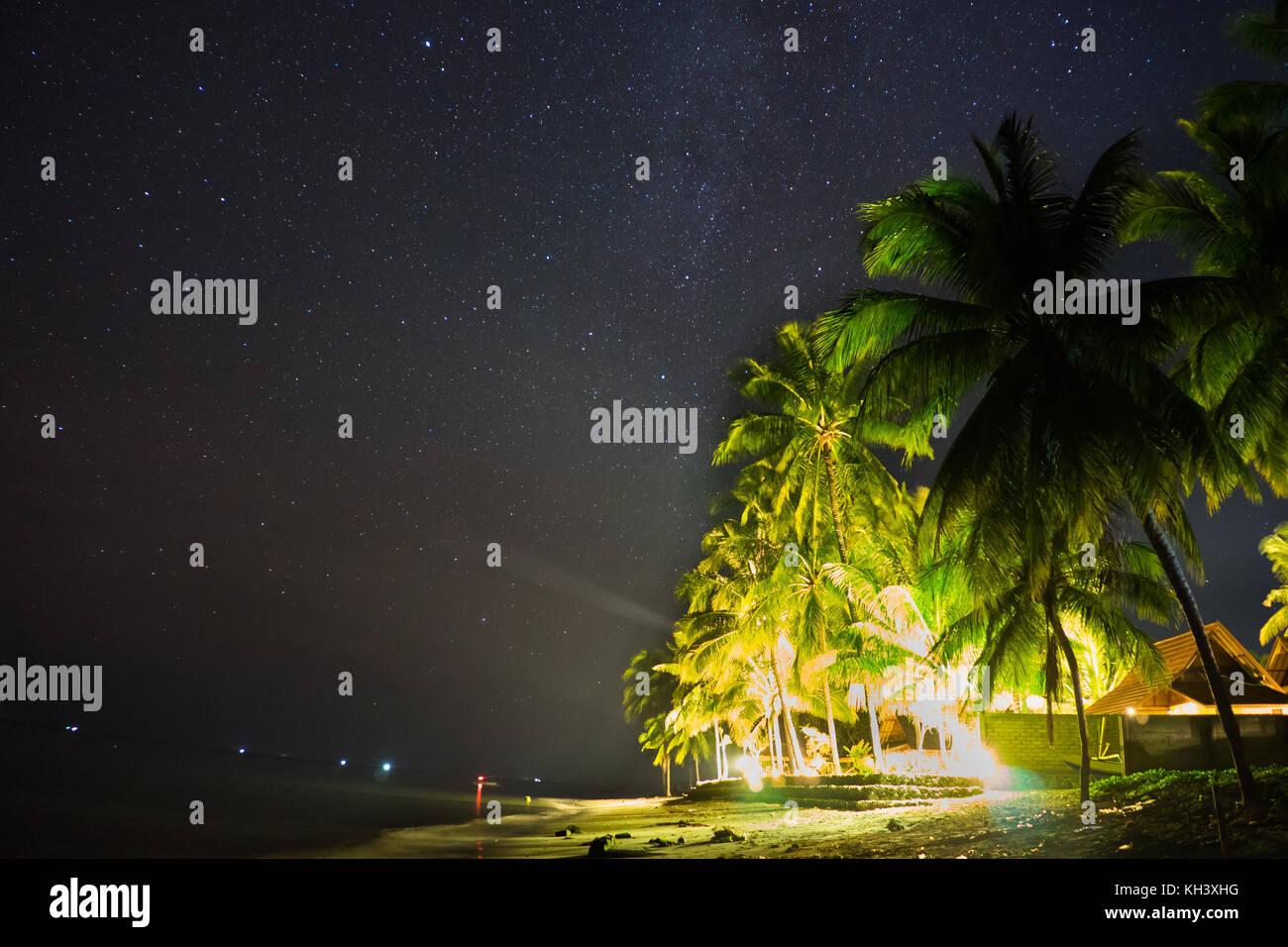 Estrellas sobre el cielo nocturno con casa de playa y palmeras. Imagen De Stock