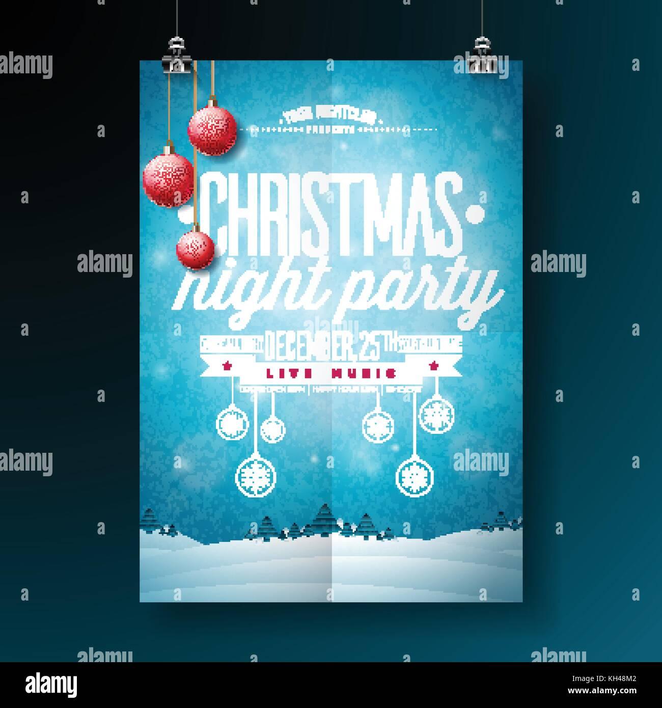 Vector Merry Christmas Party flyer ilustración con tipografía y ...