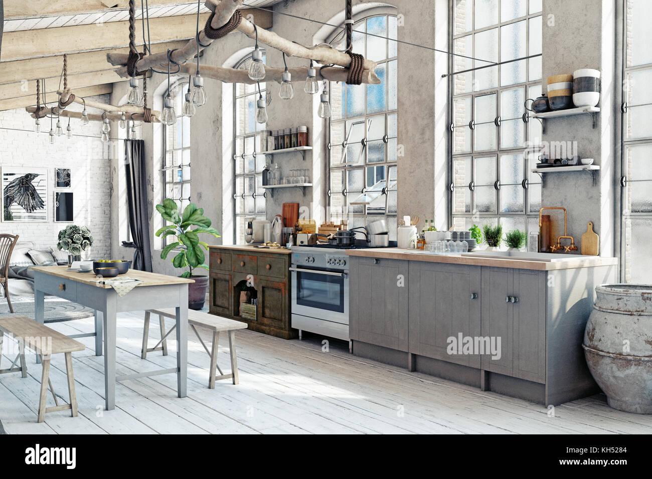 Ático Loft cocina interior. Concepto de representación 3D Imagen De Stock