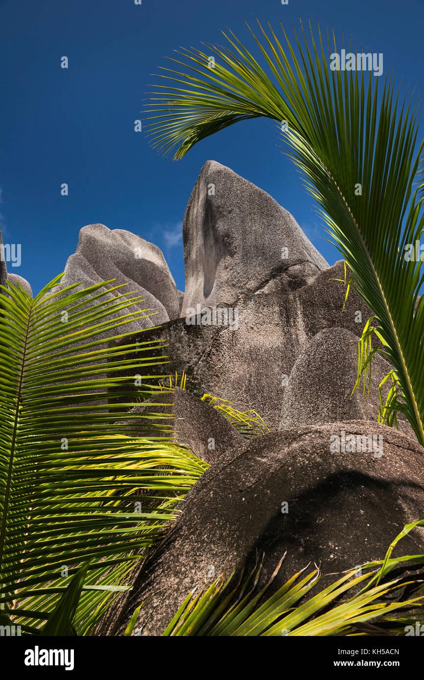 Las islas Seychelles, La Digue, L'Union Estate, palmeras y rocas en el Anse Source d'Argent beach Imagen De Stock