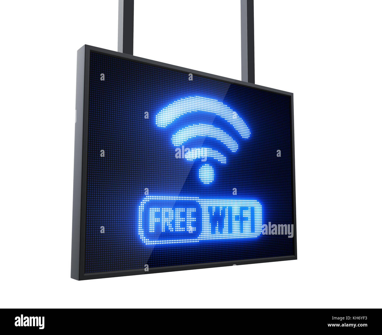 Free Wi-Fi led signo aislado sobre fondo blanco. Imagen De Stock
