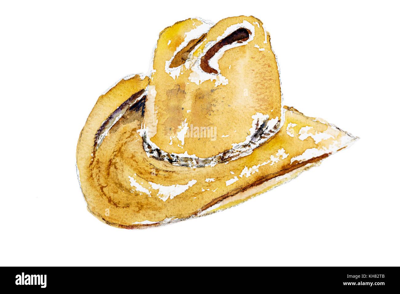 Sombrero de vaquero del oeste con hatero arruga estilo en un fondo blanco  puro - pintura 6586714e7af