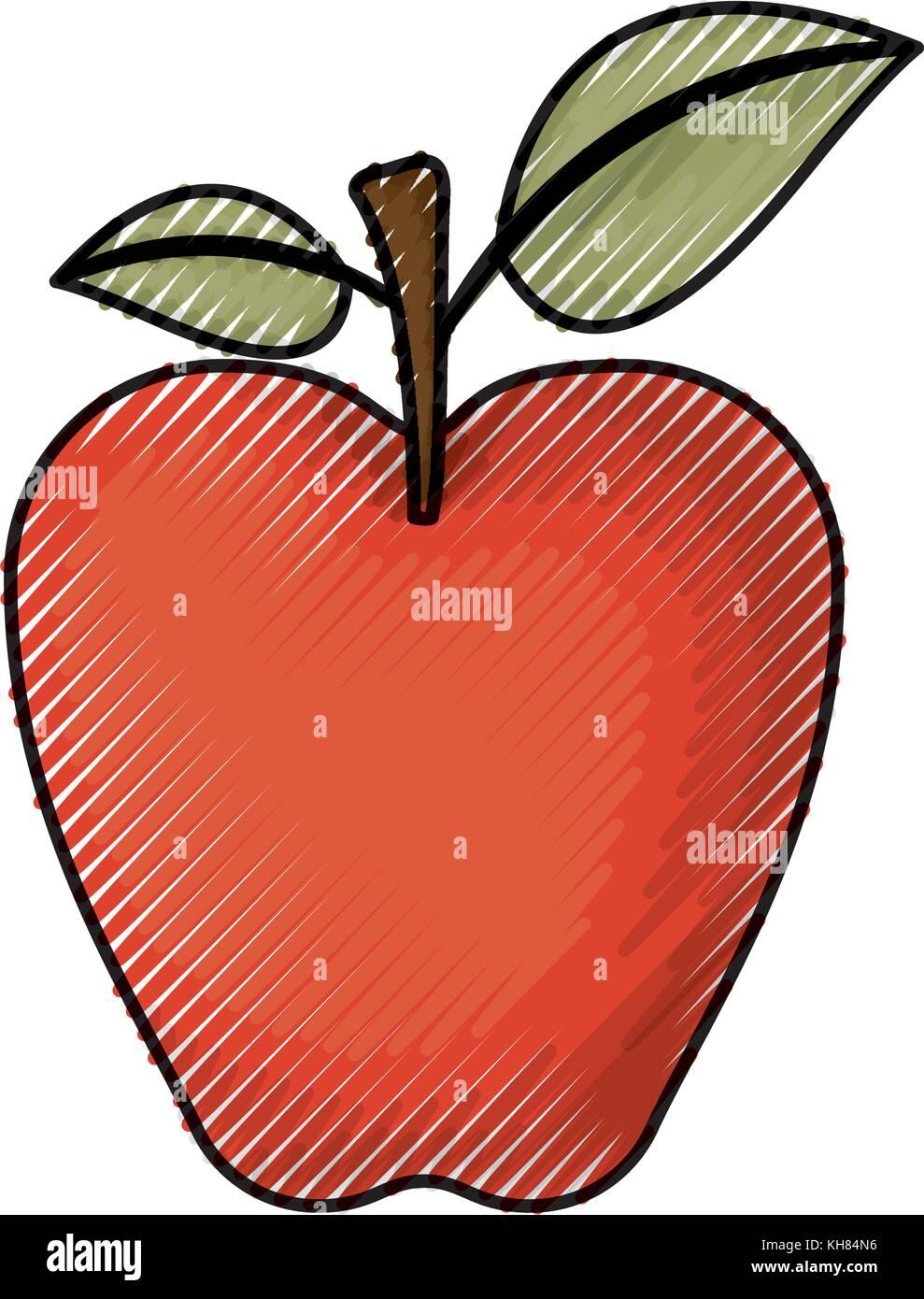 Lápiz de color rojo manzana en silueta Ilustración del Vector ...