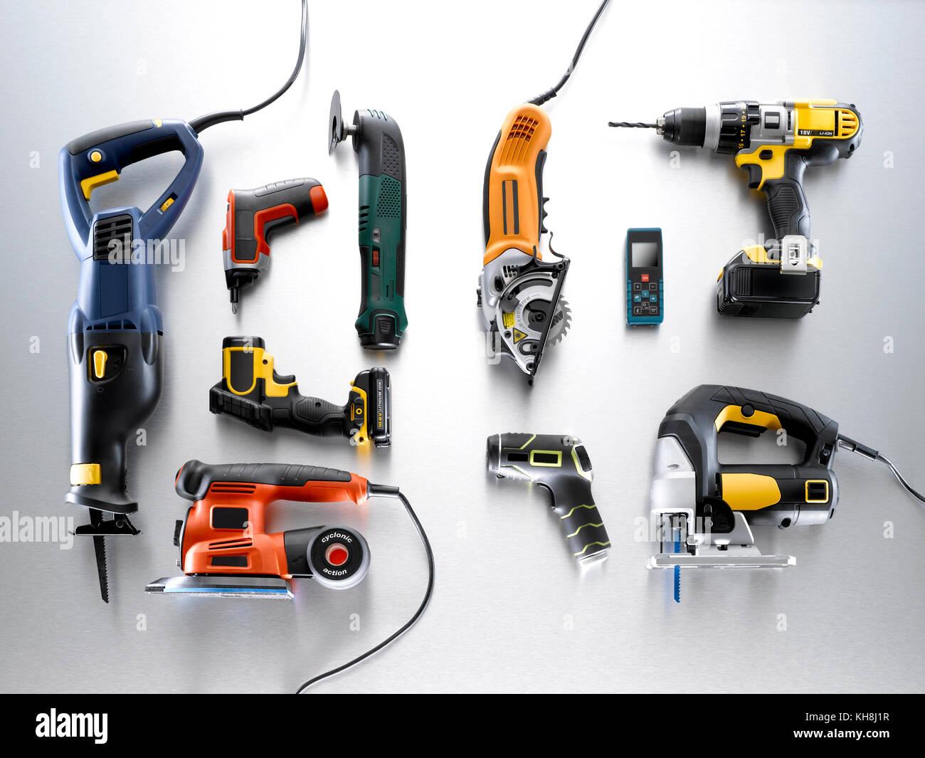 Un bodegón shot de una selección de herramientas Foto de stock