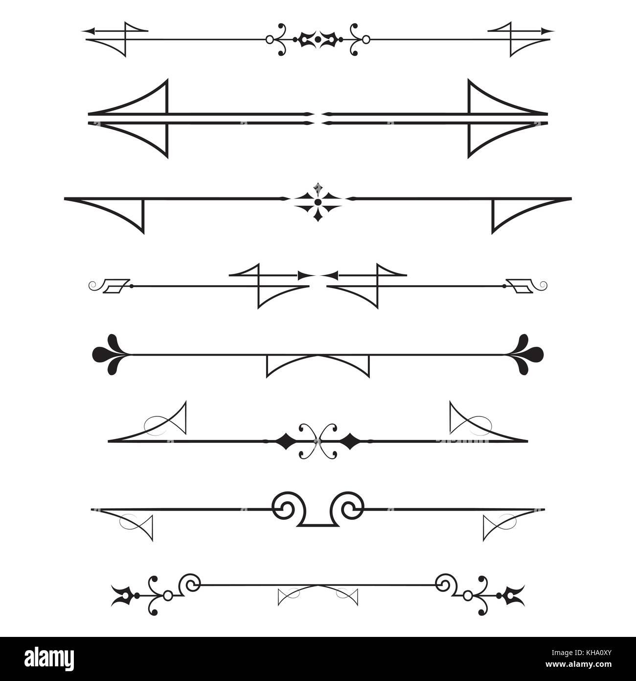 Conjunto de elementos de dise o caligr fico y decoraci n de p gina divisores aislado sobre - Elementos de decoracion ...