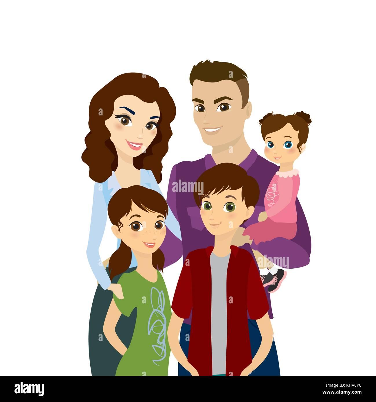 Retrato De Familia Feliz Aislado Sobre Fondo Blancostock