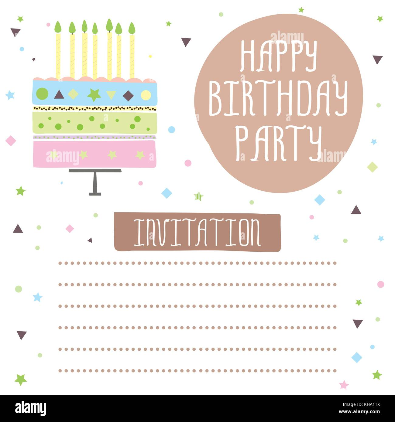 Feliz Cumpleaños Una Bonita Tarjeta De Invitación Con