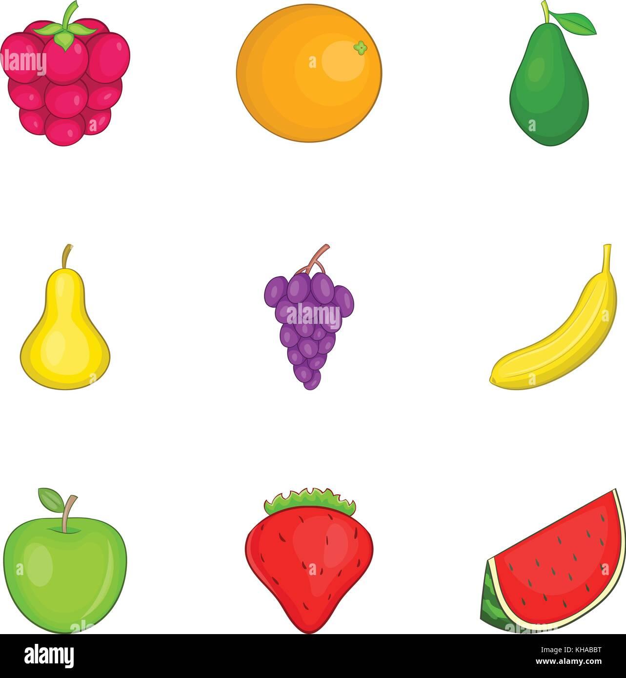 Iconos De Frutas De Color Estilo De Dibujos Animados Ilustracion