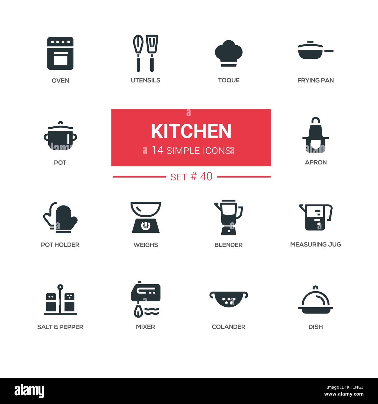 Utensilios de cocina - línea diseño conjunto de iconos Ilustración ...