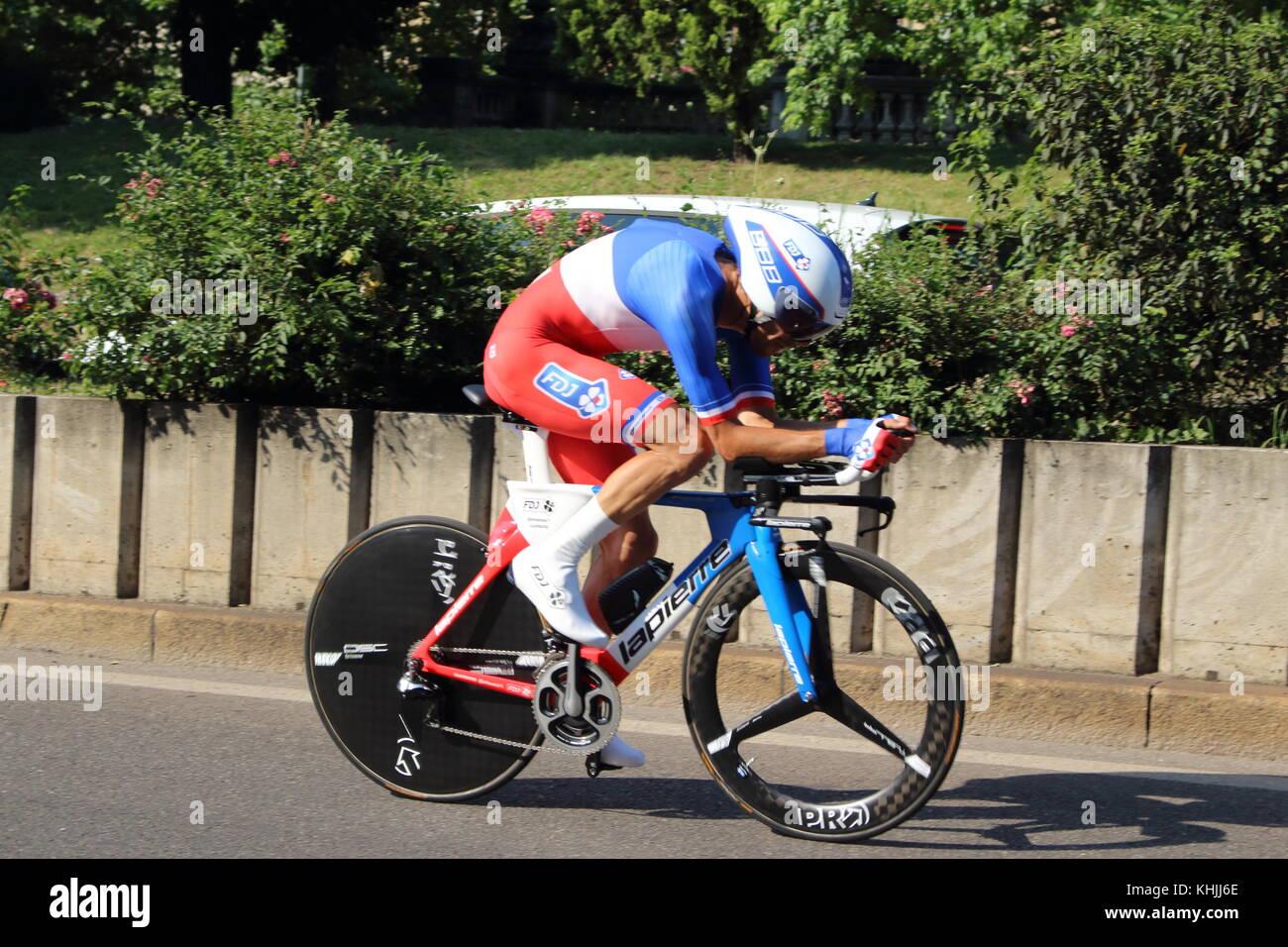 Thibaut pinot,equipo FDJ, contrarreloj, Monza-milano, Giro d'Italia 2017 Imagen De Stock