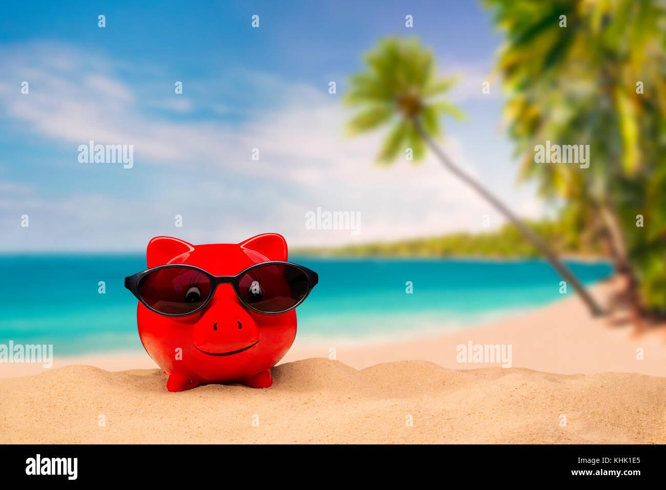 Rojo hucha con gafas de sol con una playa tropical en el fondo Imagen De Stock