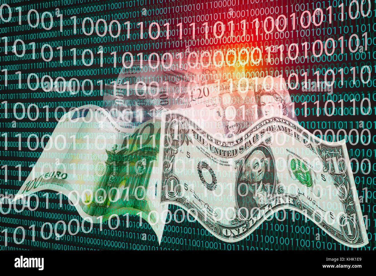 Código binario y billetes de distintas monedas simbolizando cryptocurrencies como un nuevo medio de pago Foto de stock