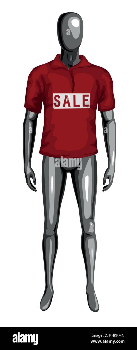 95439de8863 El hombre 3D monocromo dummy vestida de rojo venta camiseta. Vista frontal  permanente maniqui masculino. El cuerpo humano en toda la longitud del  vector ...