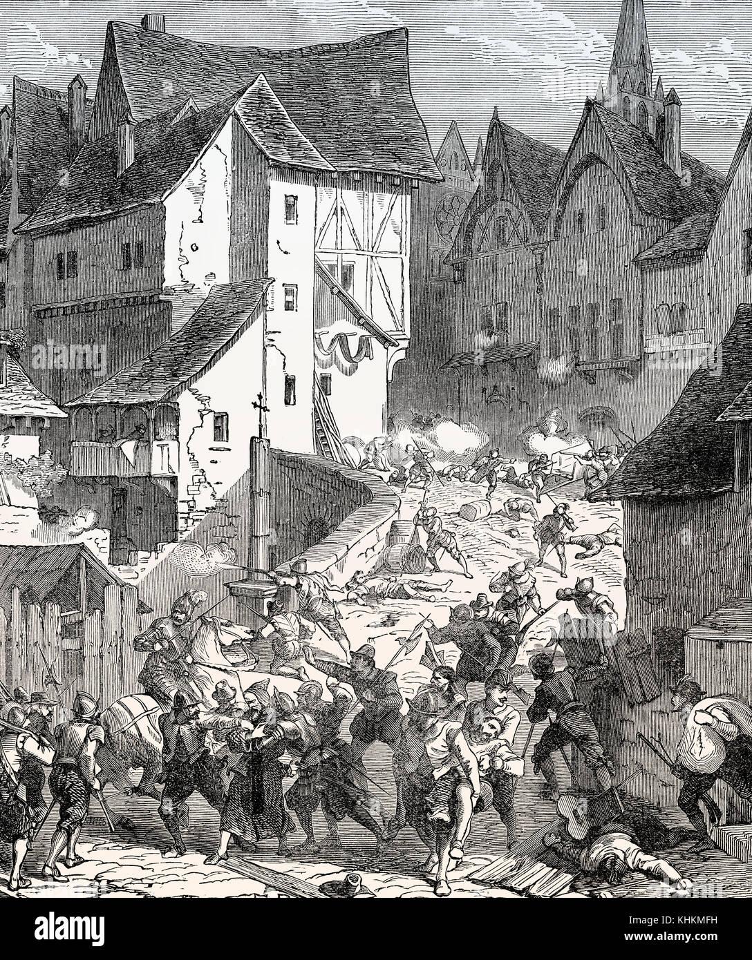 El asedio de París en 1590, guerras francesas de la religión Foto de stock