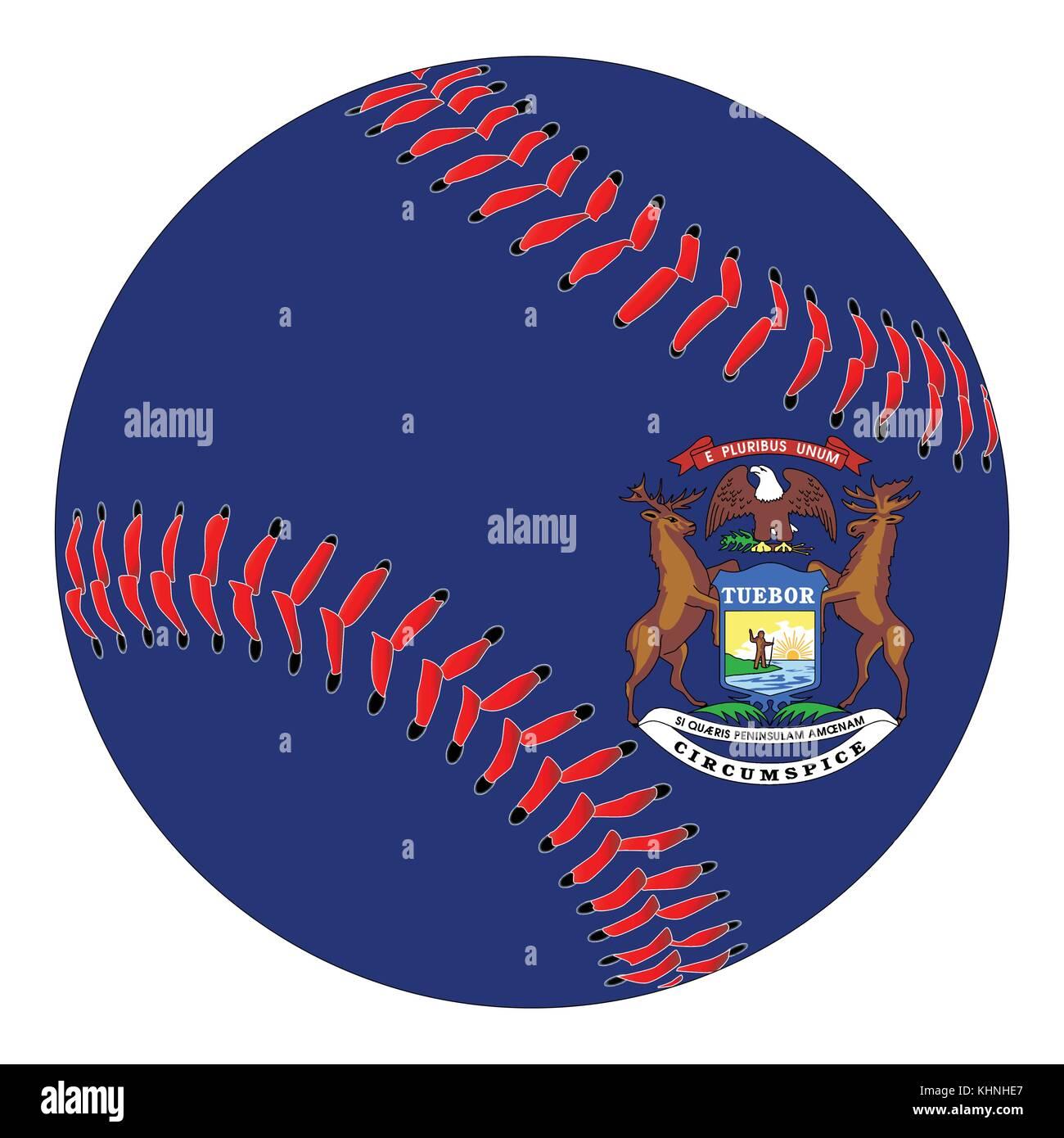 Un nuevo blanco con puntadas rojas de béisbol con la bandera del ...