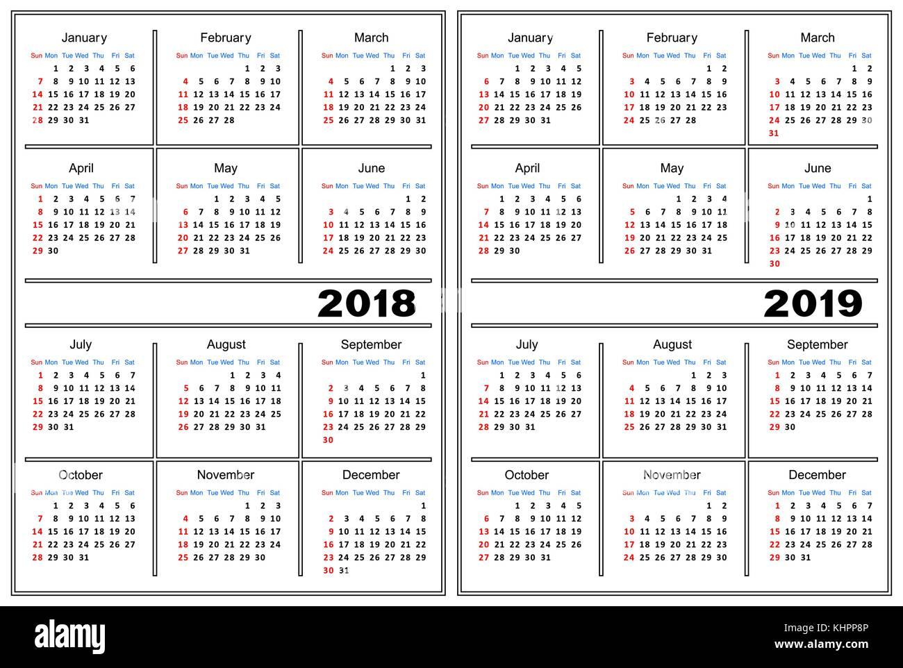 Plantilla De Calendario 2018 2019 Ilustración Del Vector