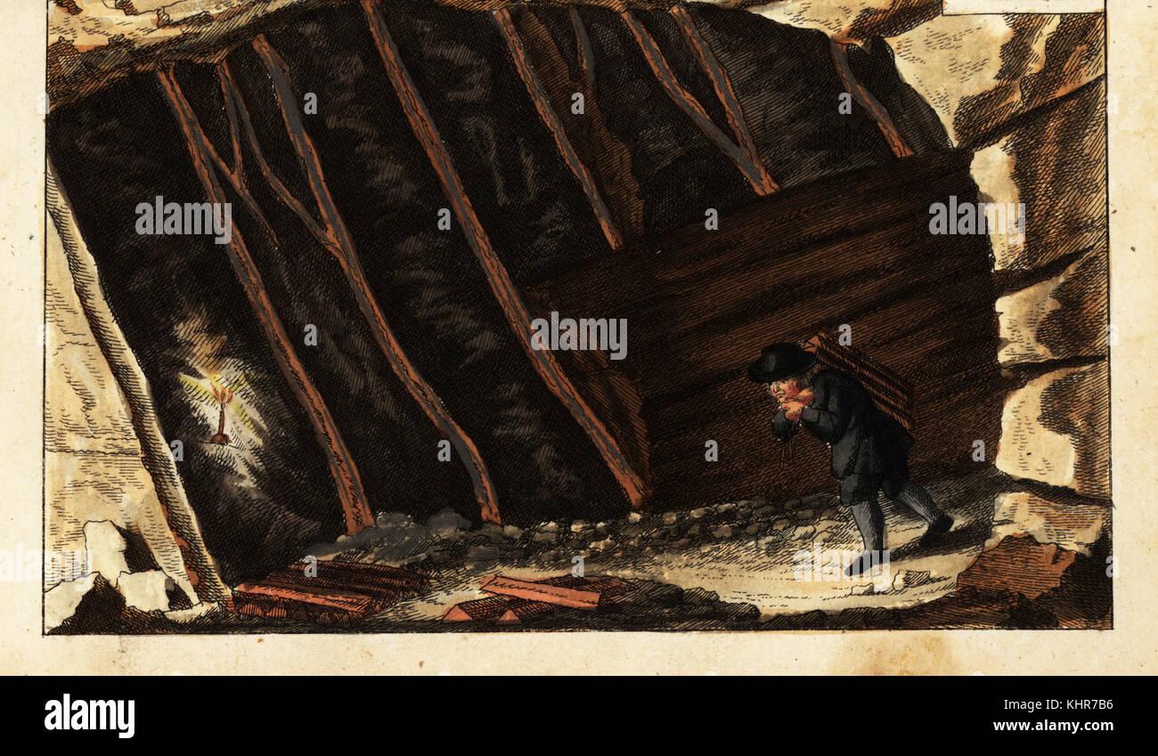 Vista de las vetas de metal dentro de una denominada Stollart en una montaña con vetas paralelas inusuales. Copperplate Handcolored grabado de Gottlieb Tobias Wilhelm's Unterhaltungen aus der Naturgeschichte: Des Mineralreichs, Augsburg, 1828. Foto de stock