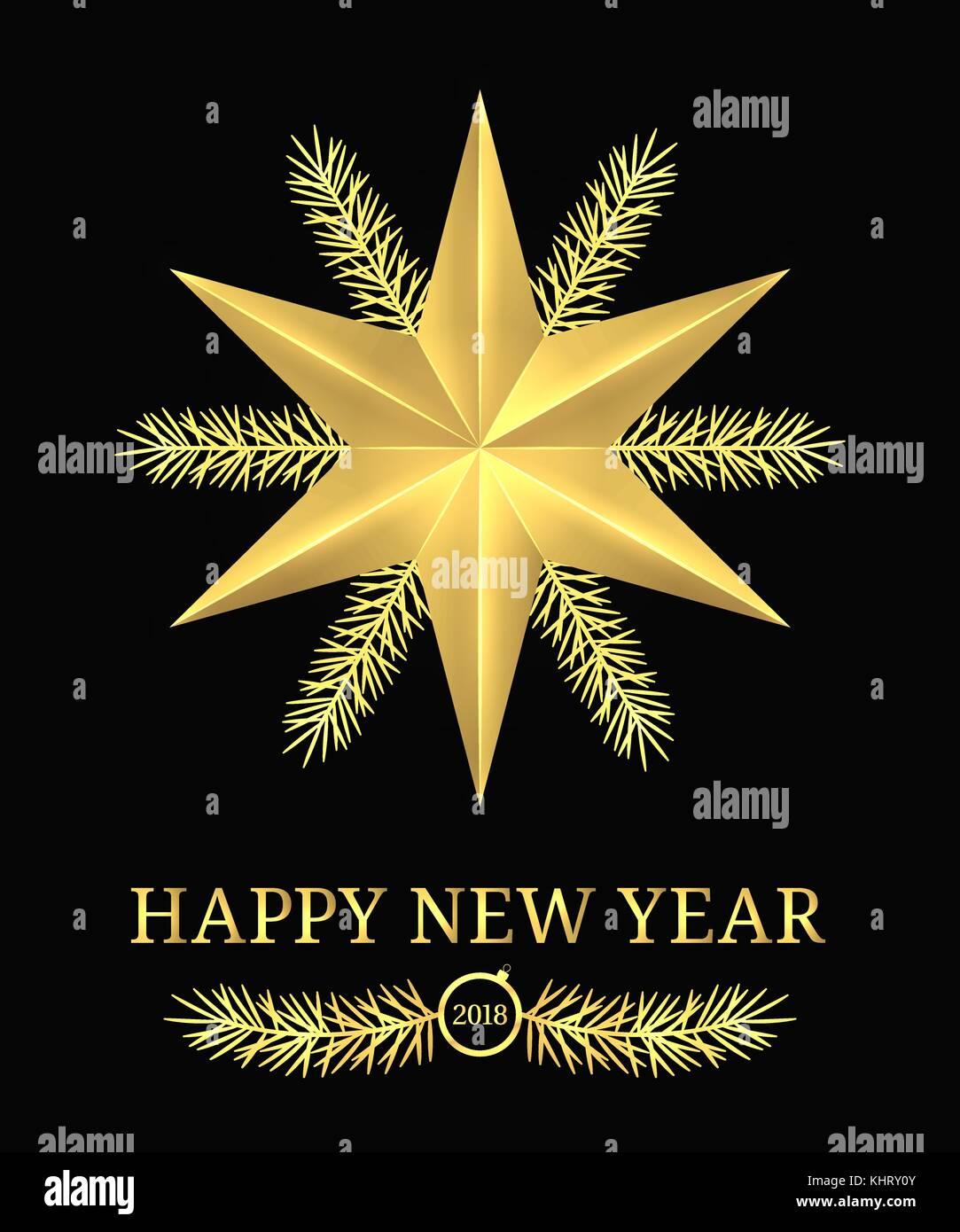 1dcbc3c03 Feliz año nuevo 2018. vector banner vacaciones con saludos de año nuevo en  color negro y dorado. golden SHINING STAR
