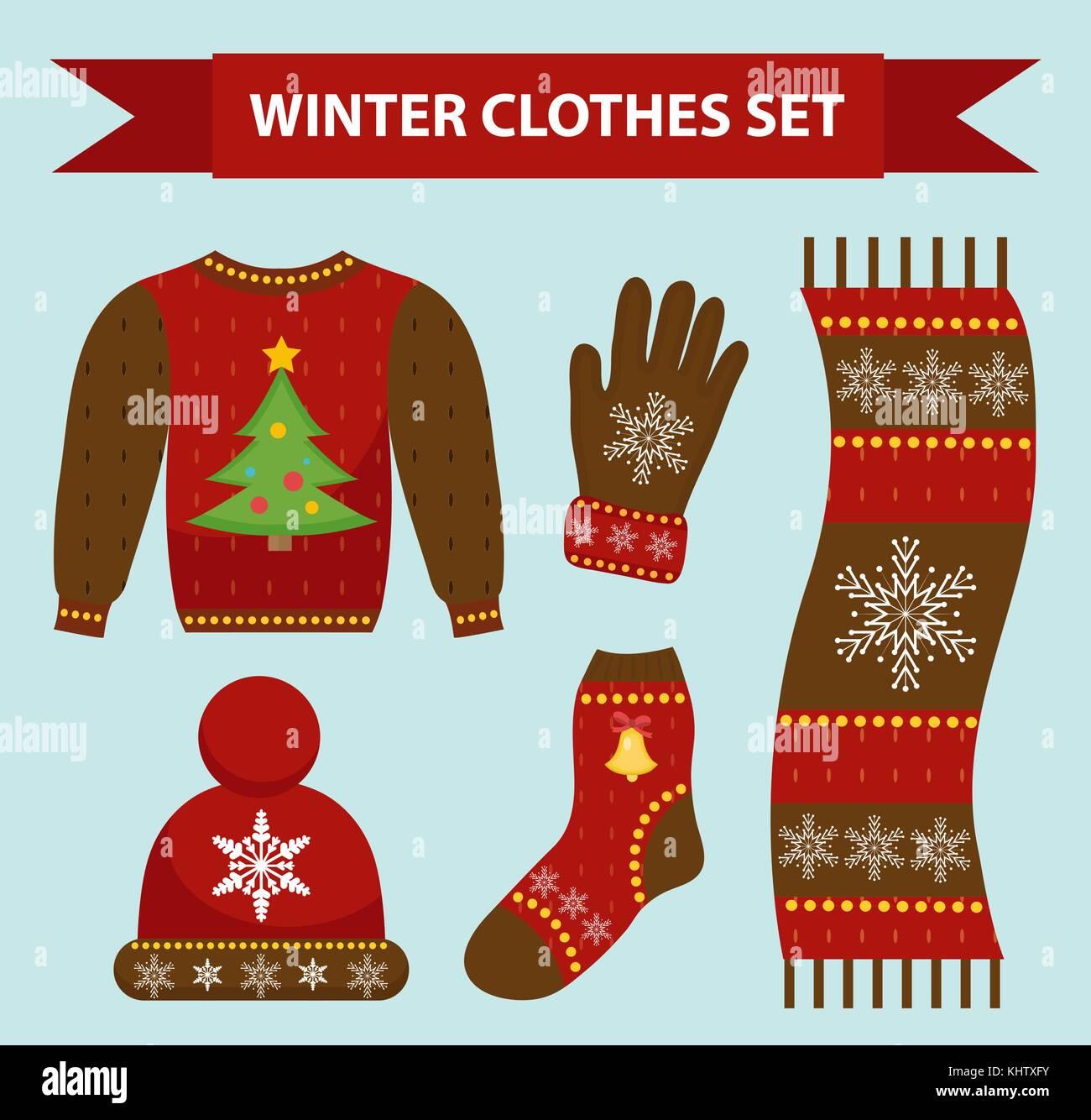 2a8d2888f Ropa de abrigo de invierno, tipo plano de conjunto de iconos. Navidad,ropa  vestidos colección con patrones. sombrero, bufanda, guantes, suéter.  aislado ...