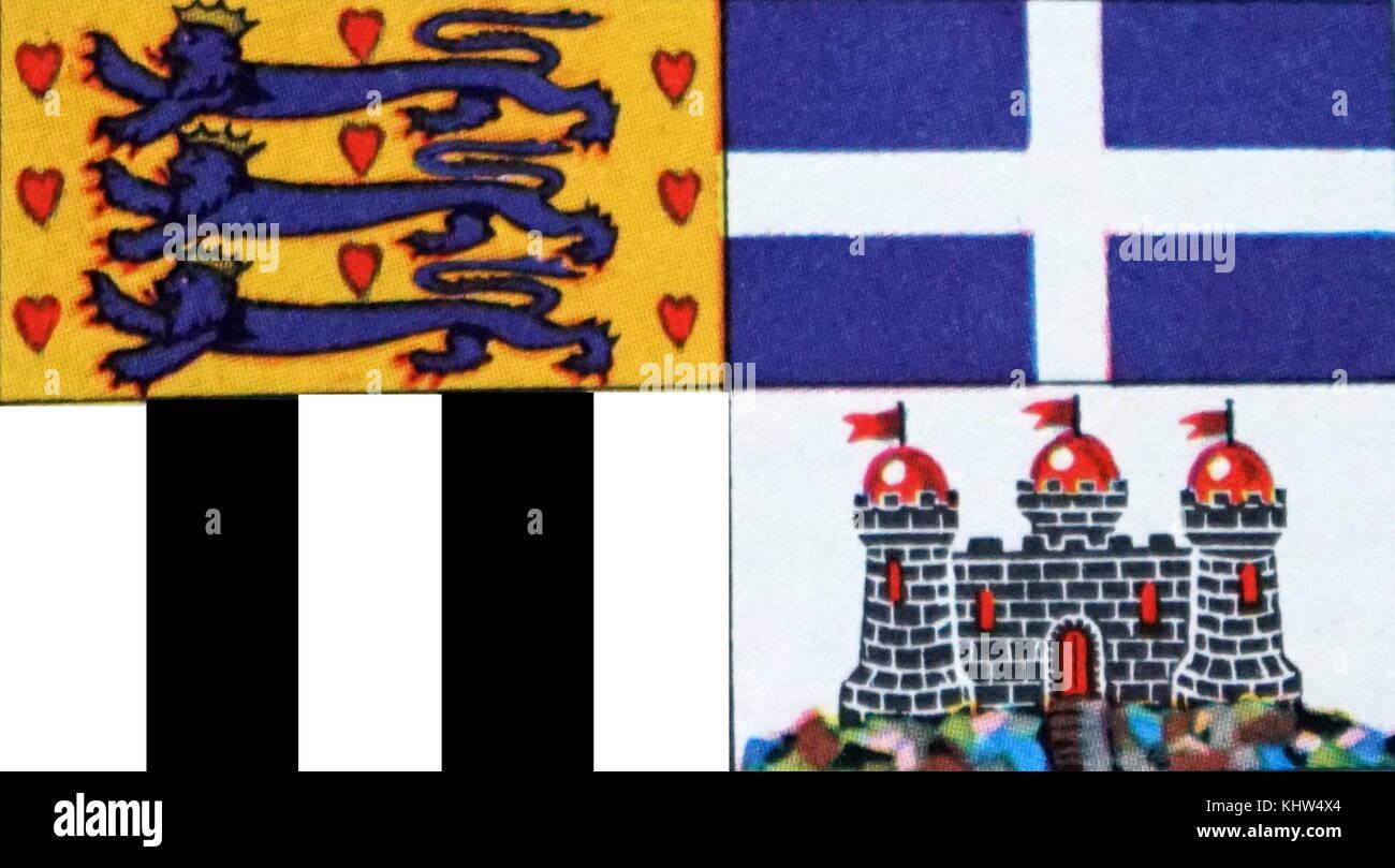 Ilustración mostrando la bandera del Duque de Edimburgo. Fecha Siglo XX Foto de stock