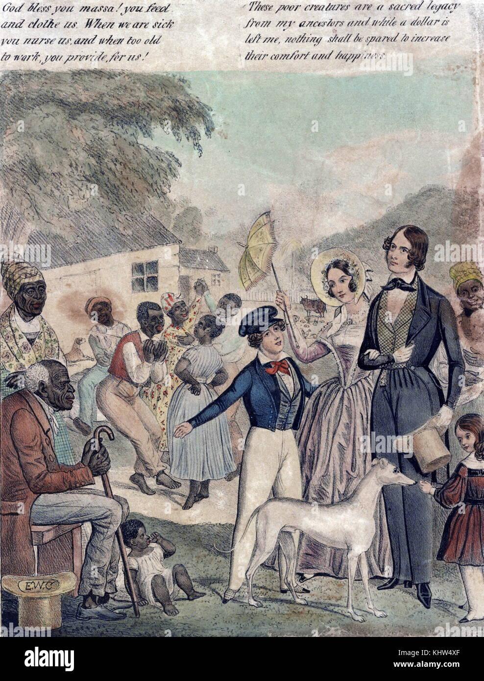 Imprimir mostrando una imagen idealizada de la esclavitud americana y las condiciones de los negros bajo el sistema Imagen De Stock